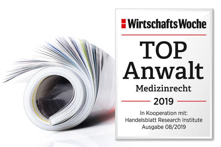 Auszeichnung: Top-Anwalt für Medizinrecht 2019