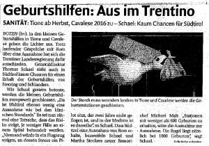 Geburtshilfen: Aus im Trentino, Dolomiten Zeitung, 16.07.2015